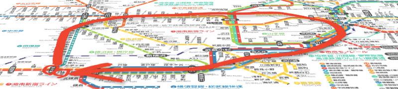 神奈川発着大回り路線図
